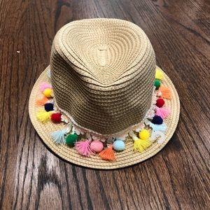 Gap kids straw pom pom beach Hat Fedora Sz S/M NEW